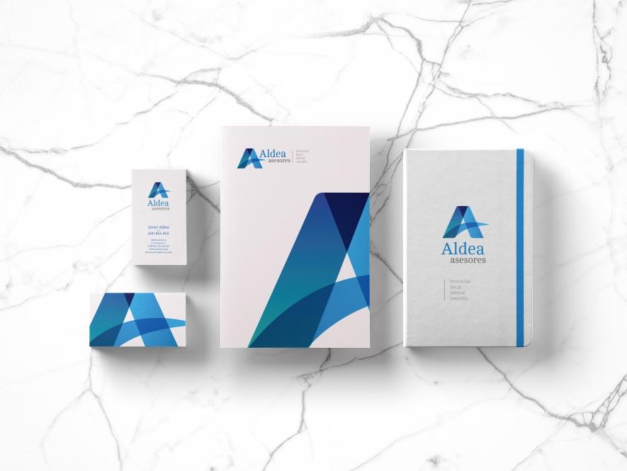 ALDEA ASESORES. Branding: Rediseño de logotipo, papelería corporativa y Web.