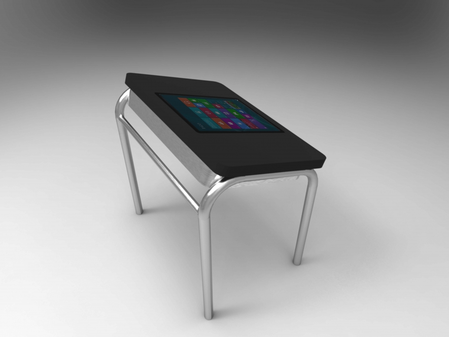 Infografía de mesa de escritorio con tablet integrada